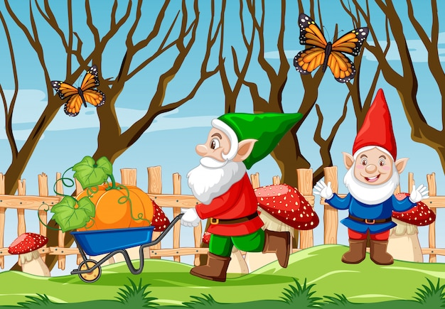 庭の漫画スタイルのシーンでカボチャのカートと蝶を押すgnome