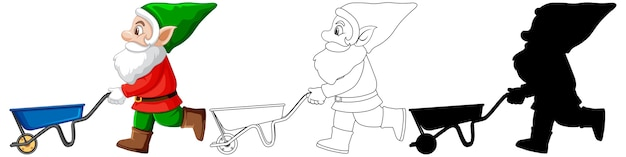 Gnome in santa costume in color and outline and silhouette in cartoon character on white