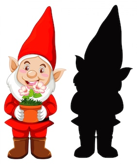Gnome in santa costume in color and silhouette in cartoon character on white background