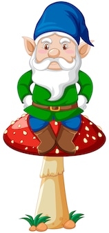 Gnome sitting on mushroom in cartoon character on white background