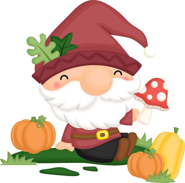 A gnome sitting with his mushroom and pumpkins