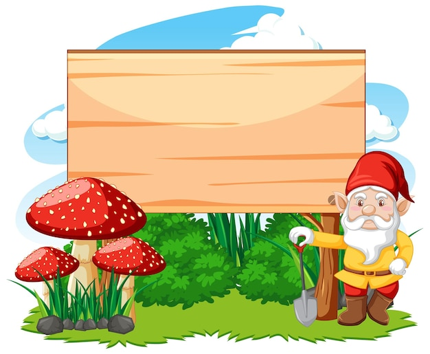 Gnome standing beside blank banner cartoon style on white