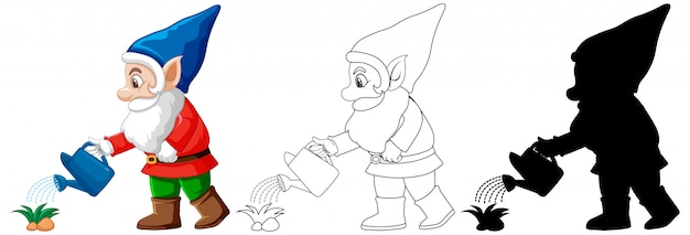 Gnome watering plant in color and outline and silhouette in cartoon character on white background