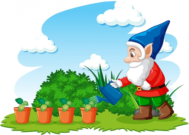 Gnome watering plants in the garden on white background