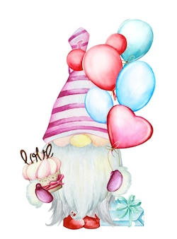Gnome, with balloons, in cartoon style. watercolor