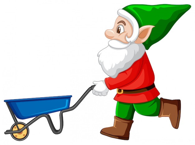 Gnome with blue haul cart cartoon character on white background
