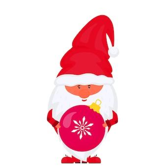 Гном с елочным шаром вектор на новогодние праздники