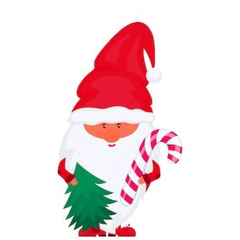 Гном с елкой и вектором леденца на палочке на новогодние праздники