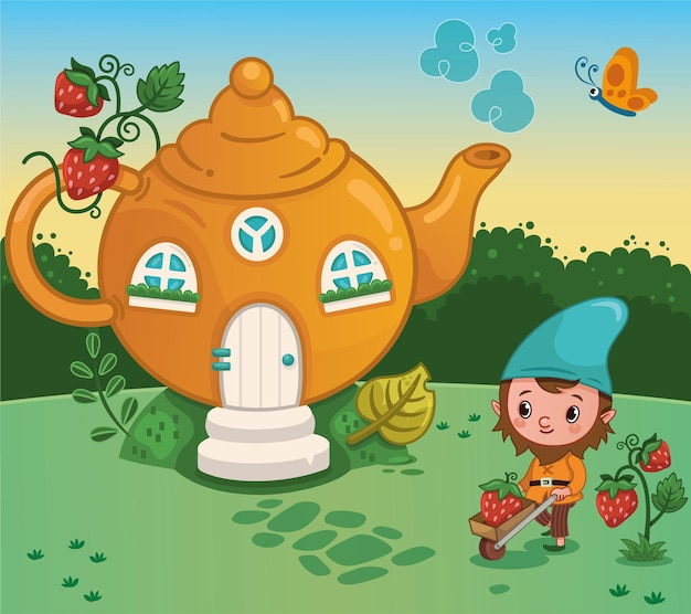 The gnome with his house vector illustration