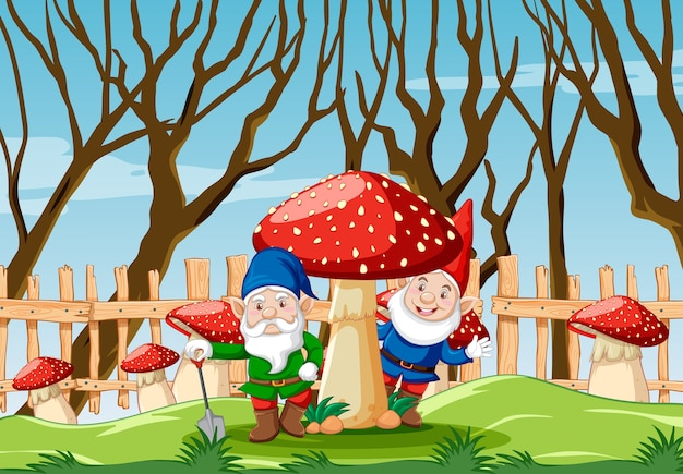 Gnome with mushroom in the garden cartoon style garden scene
