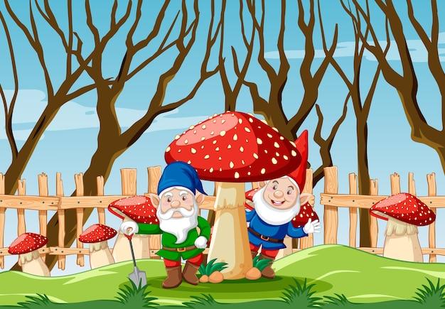Gnomo con funghi nella scena del giardino in stile cartone animato giardino
