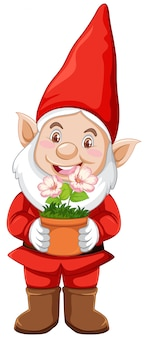 Gnome with plant pot in cartoon character on white background