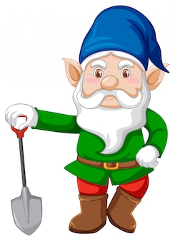 Gnome with shovel in cartoon character on white background
