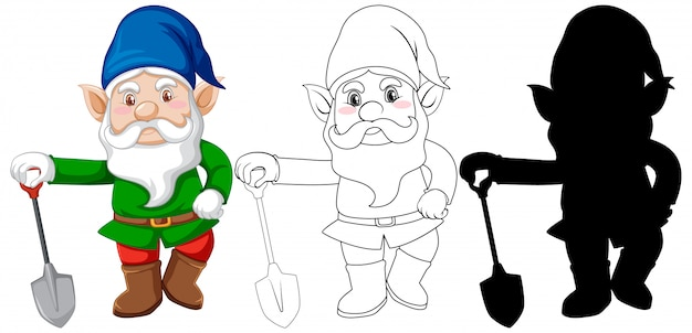 Gnome with shovel in color and outline and silhouette in cartoon character on white background