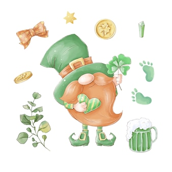 Gnome with st. patrick's day elements