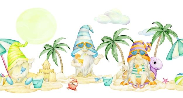 Gnomes, on the beach, watercolor seamless pattern, on an isolated background.