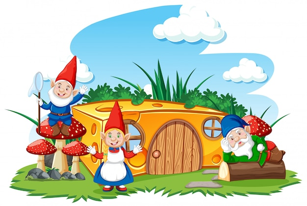 Gnomes and cheese house in the garden cartoon style on sky background