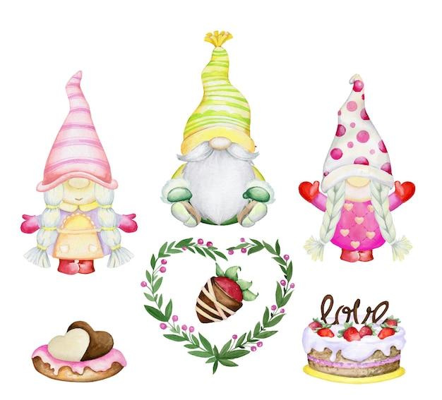ノーム、チョコレートで覆われたイチゴ、ケーキ、花輪、ハート。水彩