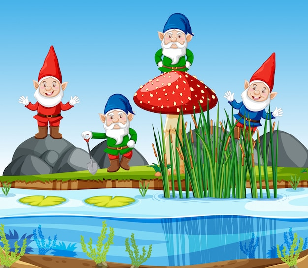 Gnomes group standing beside swamp in cartoon style