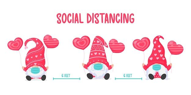 Гномы с воздушными шарами с розовыми сердечками наденьте маску и покиньте социальное пространство, чтобы предотвратить вирус.