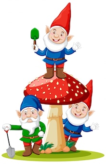 Gnomes and mushroom cartoon character on white background