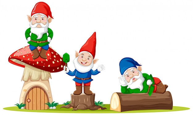Gnomes and mushroom house cartoon character on white background