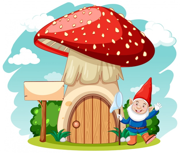 Gnomes and mushroom house cartoon style on white background