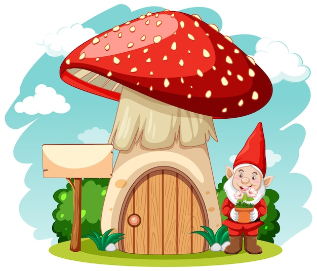 Gnomes and mushroom house cartoon style on white