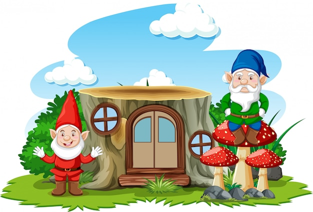 Gnomes standing beside stump house cartoon character on white background