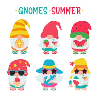 Gnomes summer. gnomes wear hats and sunglasses for summer trips to the beach. Premium Vector