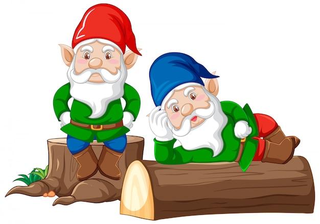 Gnomi e legnami in stile cartone animato su sfondo bianco