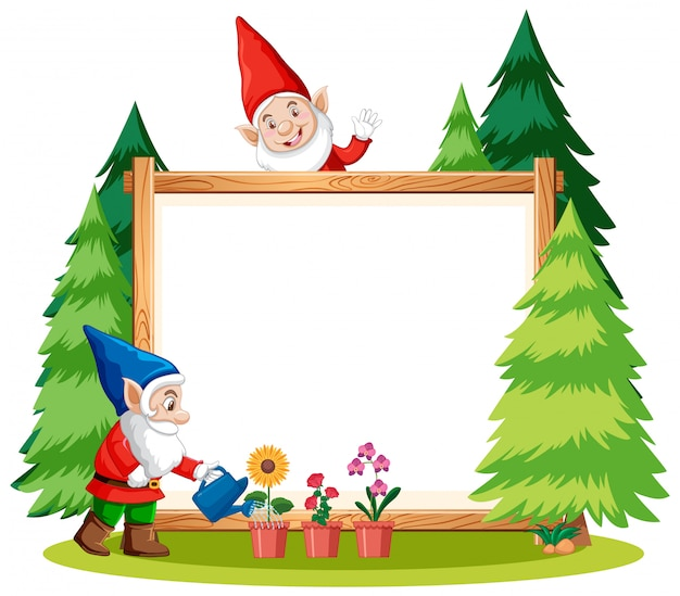 Gnomes watering plant with blank banner on white background