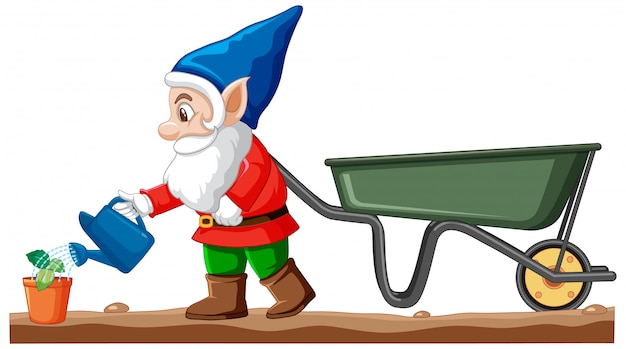 Gnomes watering plant with wheelbarrow cart cartoon style on white background