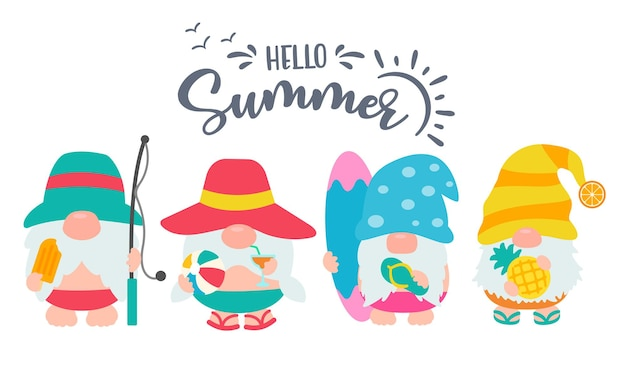 Gnomes wear hats and sunglasses for summer trips to the beach. Premium Vector