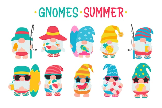 Gnomes wear hats and sunglasses for summer