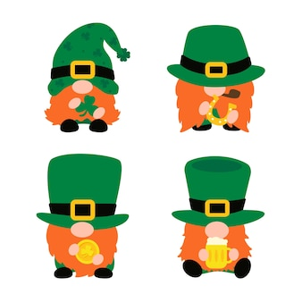 The gnomes wear a top green hat holding a clover. a symbol of good luck in st.patrick's day