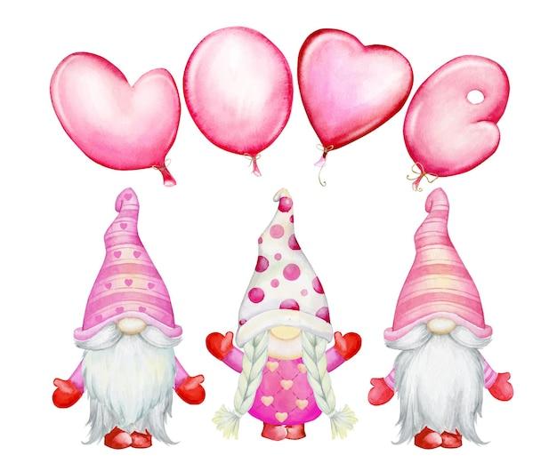 Гномы, с воздушными шарами, в мультяшном стиле. акварель