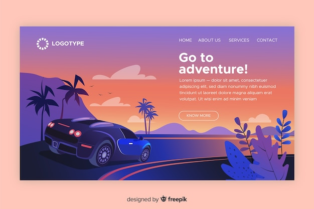 Go to adventure landing page