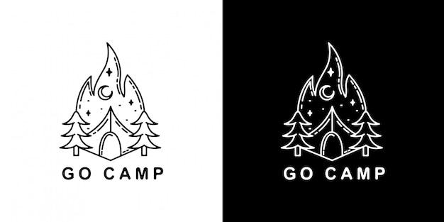 キャンプモノラインバッジデザイン