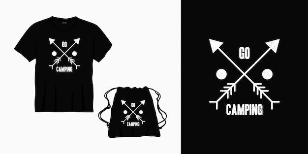 Tシャツ、バッグ、または商品のレタリングデザインをキャンプタイポグラフィに行く