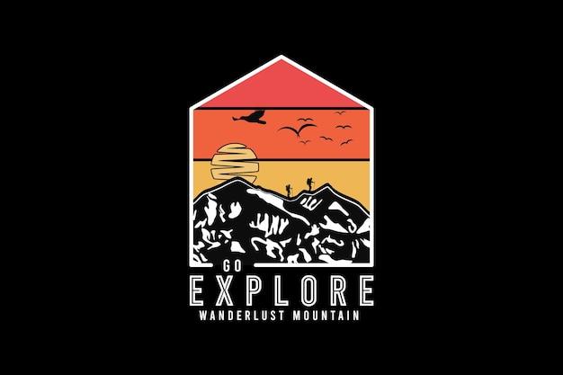Go explore wanderlust mountain, design silt retro style