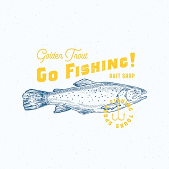 ゴールデントラウト釣りに行きます。抽象的なベクトルの記号、記号またはロゴのテンプレート。