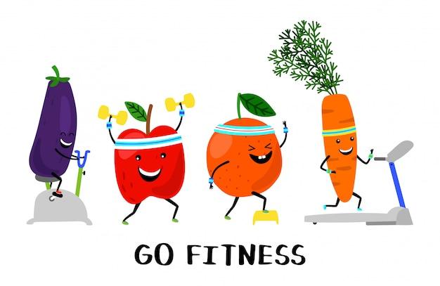 피트니스 개념을 이동하십시오. 행복한 스포츠 과일과 야채. 건강한 라이프 스타일 일러스트