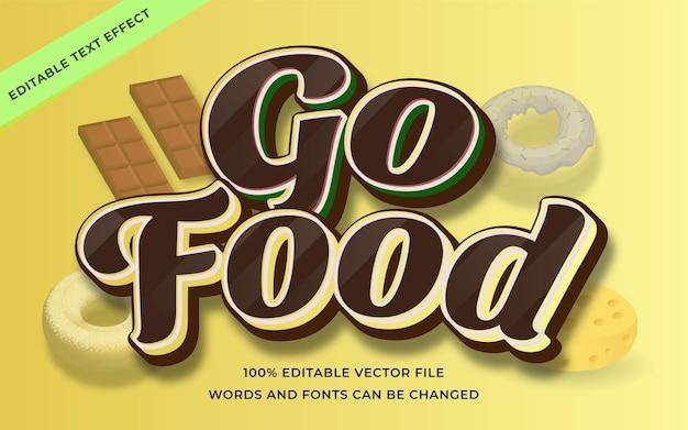 Go food text effect editable for illustrator