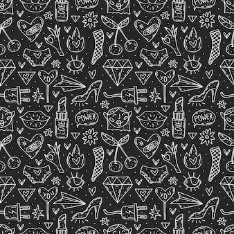 Go girl cute cartoon hand drawn doodle  seamless pattern. funny chalkboard design. isolated on dark background. feminist symbols. women's day. women`s rights.
