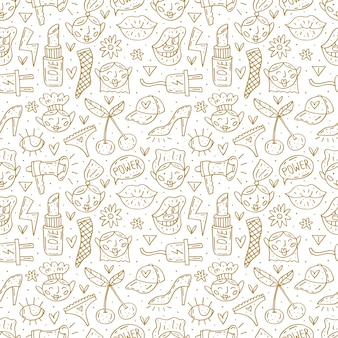 Go girl cute cartoon hand drawn doodle  seamless pattern. funny monochrome design. isolated on white background. feminist symbols. women's day. women`s rights.