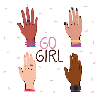 Go girl lettering with diversity hands  illustration