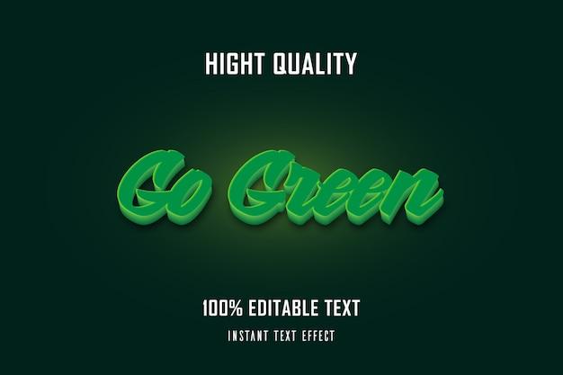 Go green 3d текстовый эффект; редактируемый текст