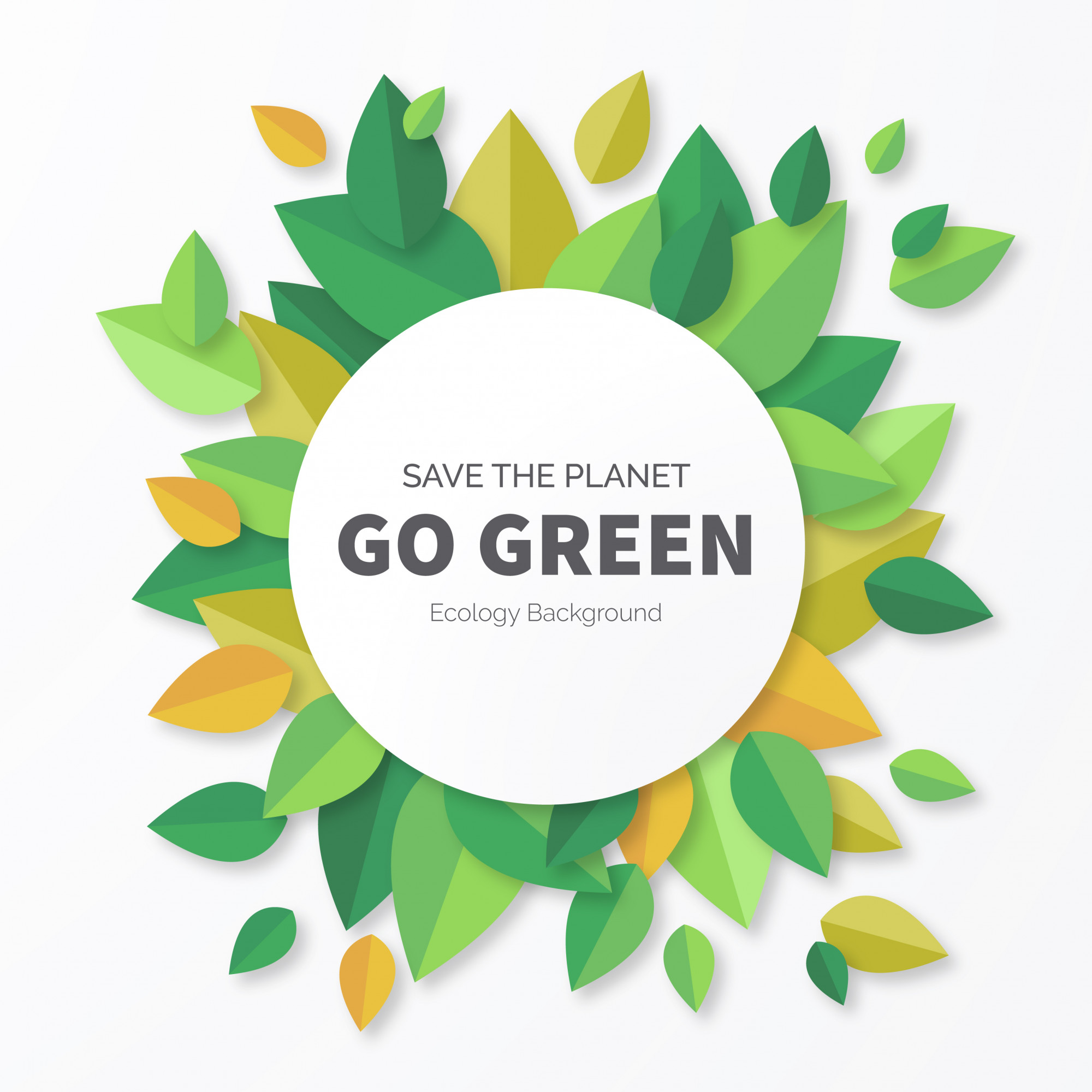 Go Green Background with Leaves