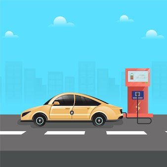 역에서 충전하는 전기 자동차로 친환경 개념 이동